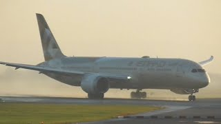 Beautiful Misty Morning departure   Etihad   A6-BLM   B787-9 Dreamliner at Manchester Airport