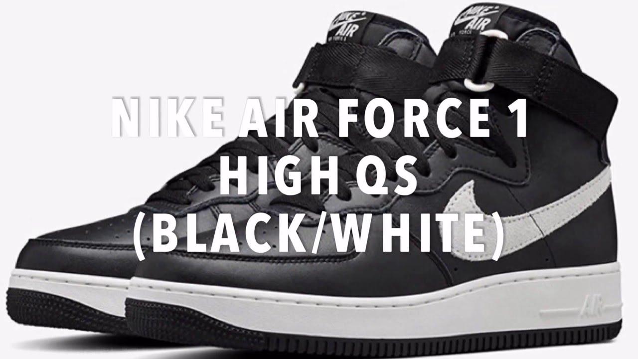 c3db35272aa1e8 NIKE AIR FORCE 1 HIGH QS (BLACK WHITE) - YouTube