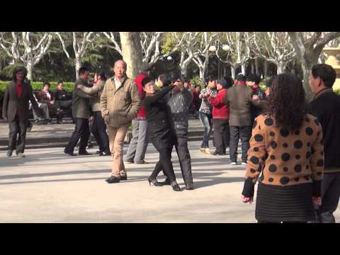 People dancing in the park in Shanghai, China