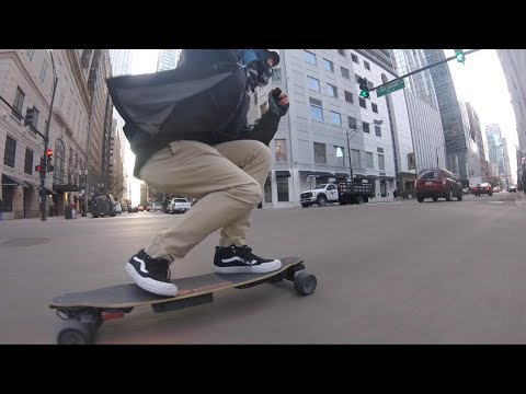 Morning Commute - Electric Skateboard Raw run in Chicago