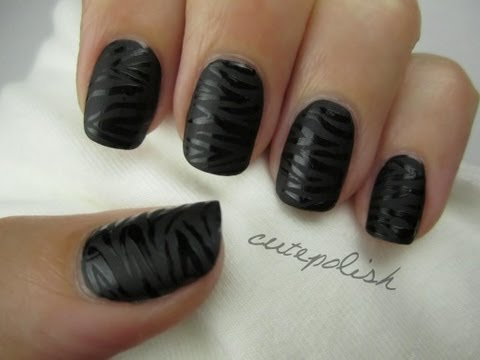 Glossy Black Zebra Nail Art