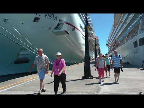 walking along the cruise ship pier in Basseterre, St. Kitts