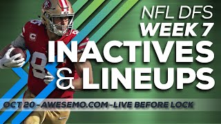 NFL DFS Live Before Lock - Week 7 Fantasy Football - FantasyDraft DraftKings FanDuel Yahoo