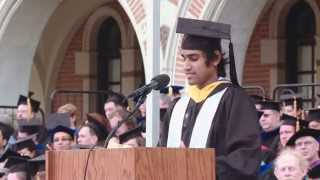 Past Rice University Student Association President Ravi Sheth addresses the class of 2015