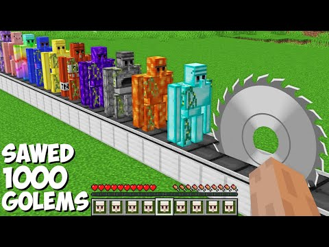 You can SAWED ALL GOLEMS in Minecraft ! SUPER TRAP FOR 1000 GOLEMS !