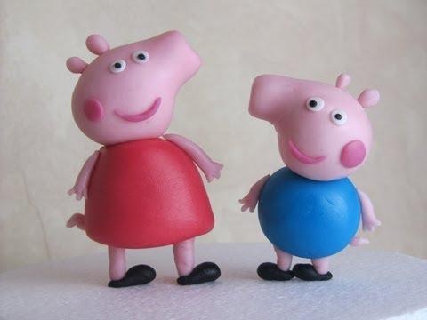 Peppa Pig and George in fondant tutorial - Tutorial come fare Peppa Pig  in pasta di zucchero