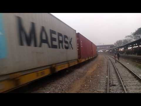Container Train Passing Dhaka Bimanboandar Railway station (BR)