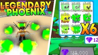 I HATCHED 6 LEGENDARY LUCKY PHOENIX IN ROBLOX BUBBLE GUM SIMULATOR