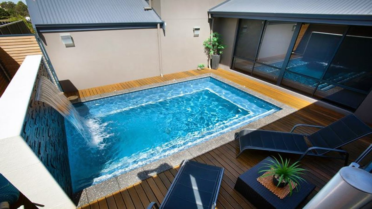 swimming pool waterfalls water features - Rectangle Pool With Water Feature