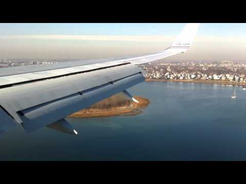 Boing 757 landing in Boston Logan International Airport (BOS) from London Heathrow (LHR)