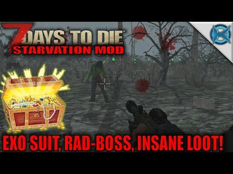 7 Days to Die Mod - EXO Suit, Rad-BOSS, INSANE LOOT! - SP Let's Play Starvation Gameplay - S01E49 - 동영상