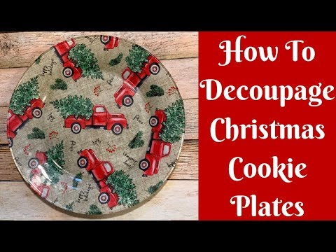 Dollar Tree Christmas Crafts: How To Decoupage Christmas Cookie Plates