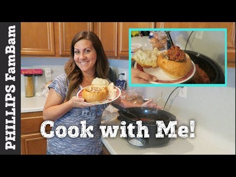 COOK WITH ME | CROCKPOT CHILI BREAD BOWL RECIPE | NOREEN'S KITCHEN COLLAB | PHILLIPS FamBam