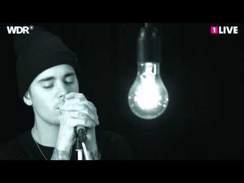 Justin Bieber - What Do You Mean acoustic @ 1LIVE Radio. (Cologne, Germany)