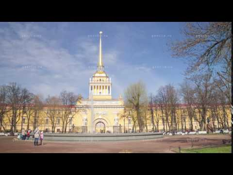 Admiralty building motion timelapse in Alexander garden of Saint Petersburg