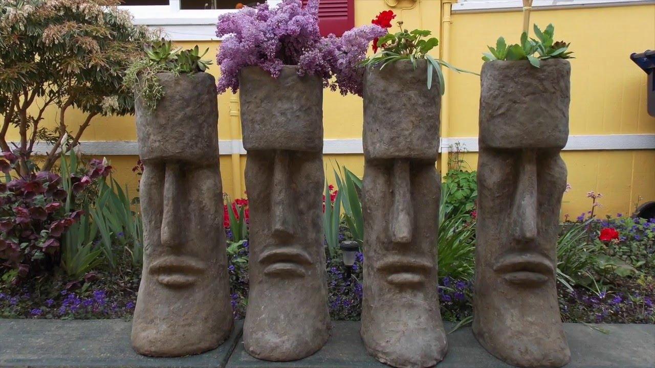 Cement Art: Hypertufa Planters, Moai Sculptures, Seattle, Snohomish,  Pacific Northwest   YouTube