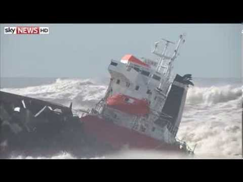Dramatic Rescue As Cargo Ship Splits In Two (Raw Video)