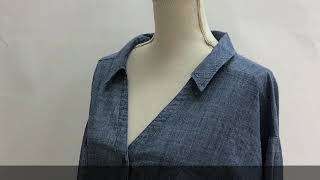 【GOLDJAPAN 大きいサイズ専門店】薄手の抜き襟シャンブレーシャツ LL-4...