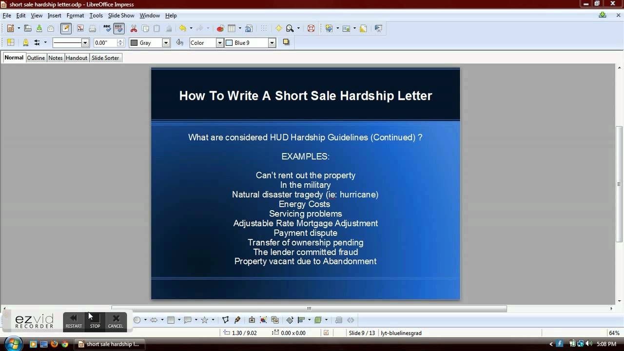 How To Write A Short Sale Hardship Letter Youtube