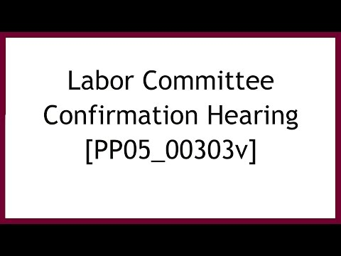 Labor Committee Confirmation Hearing