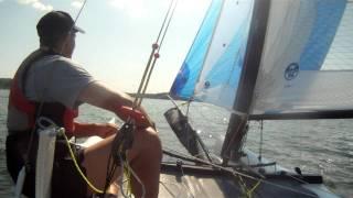 Shockwave F18 catamaran sailing fast in lightwind conditions (windspeed 3-4 m/s)