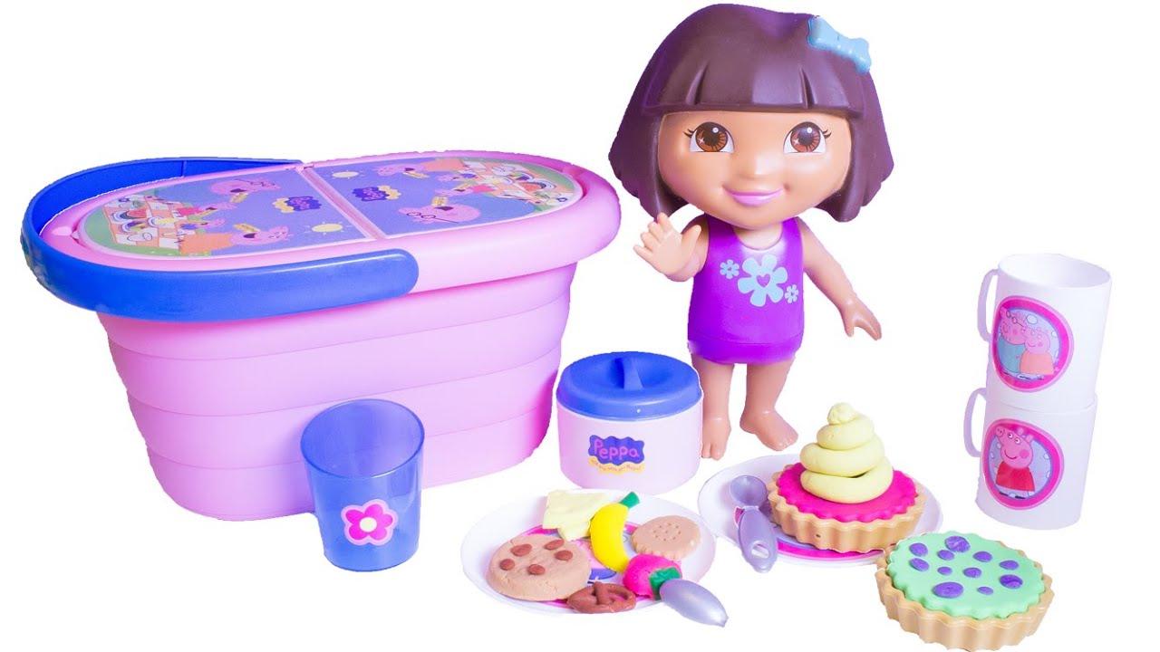 All Dora Toys : Play doh peppa pig picnic basket cesta de dora the