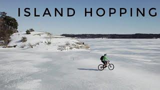 ISLAND HOPPING Mountainbiking on a frozen lake