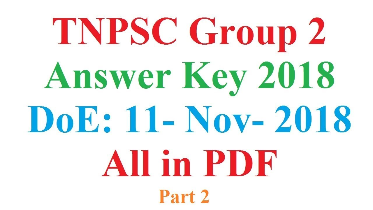 TNPSC Group 2 Exam Answer Key 2018 General English Questions 41 to 100