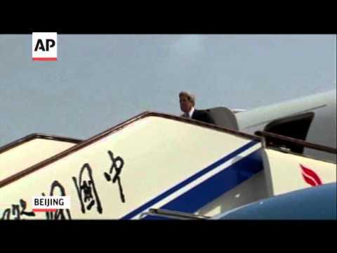 Raw: Kerry Leaves SKorea, Arrives in China