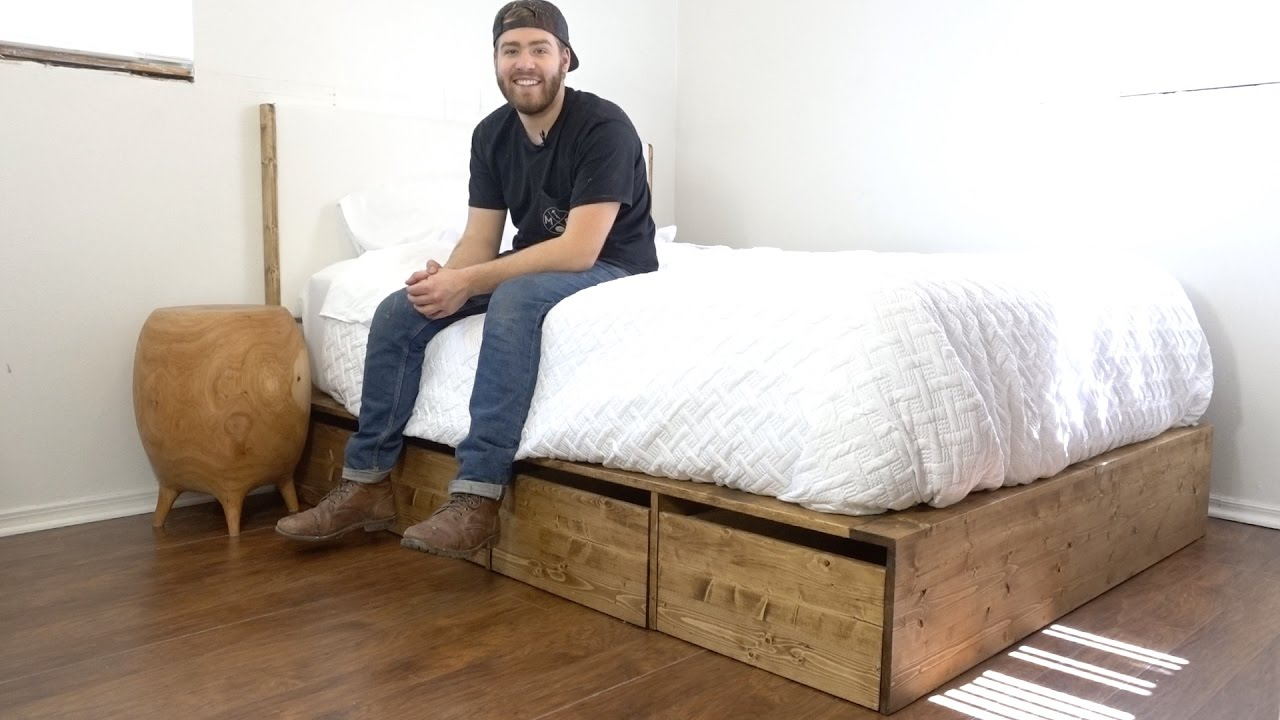 diy modern platform bed with storage modern builds ep