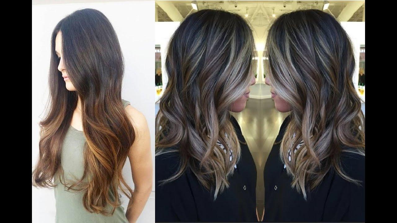 Beautiful Long Brown Balayage Hair Color