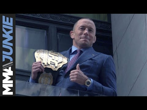UFC middleweight champion Georges St-Pierre visits New York Stock Exchange