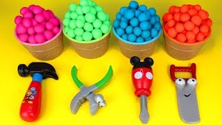 Play Doh Surprise Toys Mickey Mouse Tools & Kinder Surprise Eggs Opening PJ Masks Peppa Pig Surprise