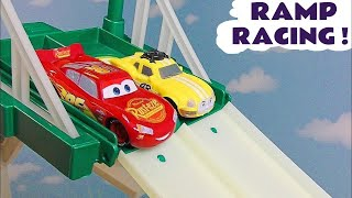 Disney Cars McQueen and Hot Wheels Superhero cars fun ramp Race with Ace and Aquaman