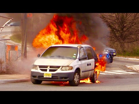 """Clifton NJ Fully Involved Car Fire """"Pre-Arrival Footage!"""" Allwood Rd by Route 3 Entrance"""