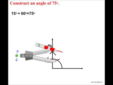 ANGLE CONSTRUCTIONS USING COMPASS - 75 DEGREES