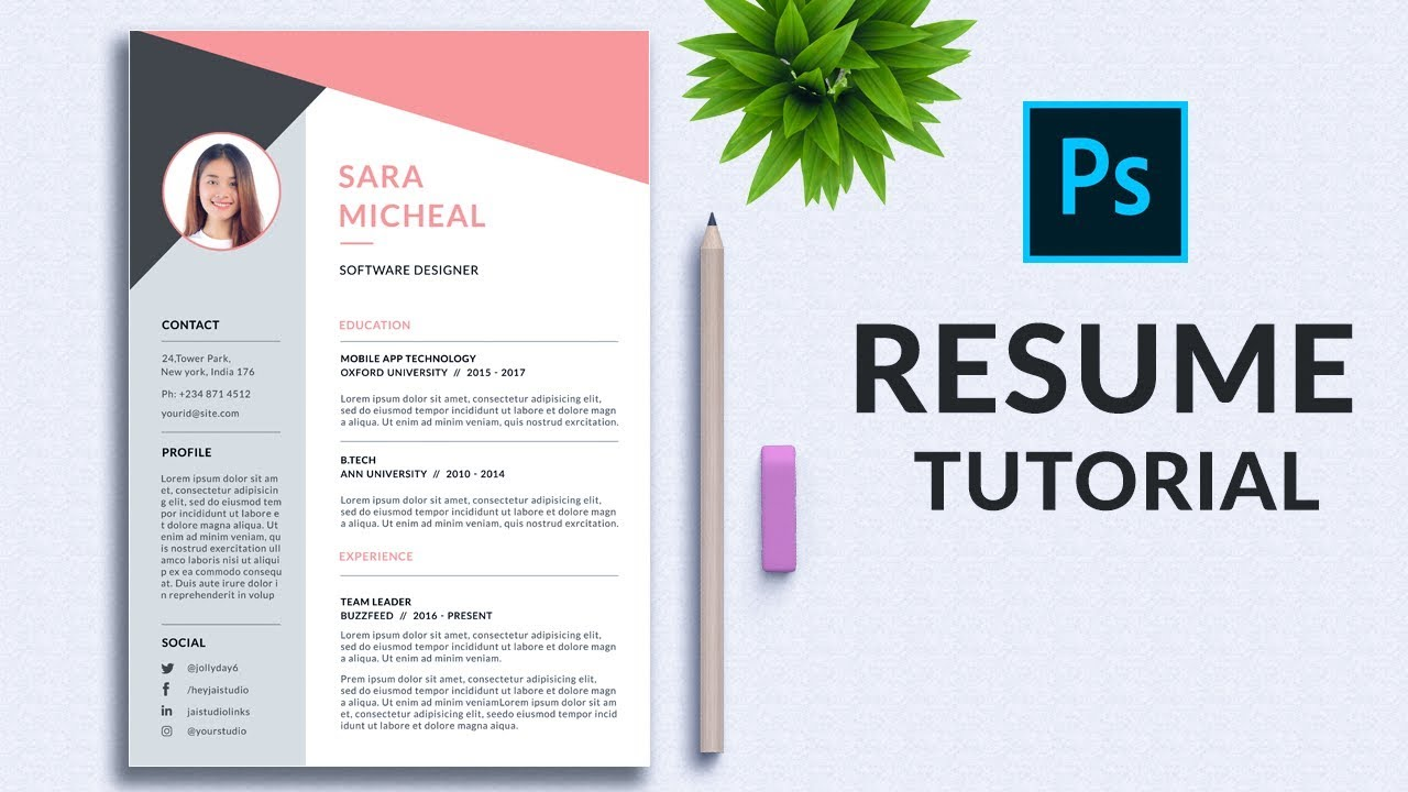 professional resume in photoshop