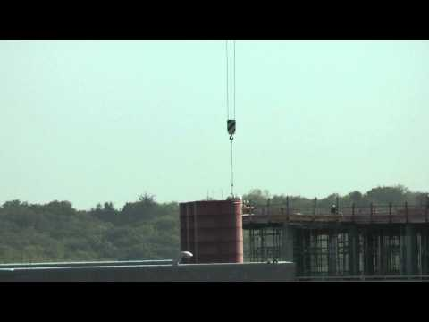 University of Iowa Crane on new campus building. Carpenter's Iron worker, electricians and HVAC