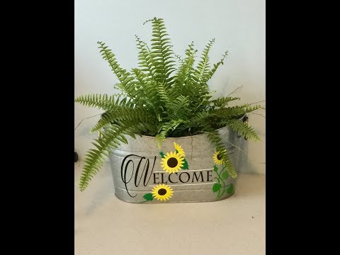 Personalized galvanized tub and DollarTree door mat