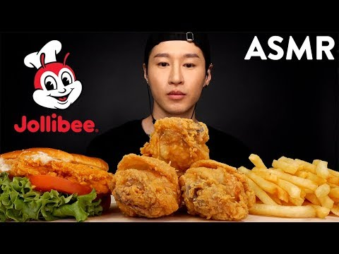 ASMR Jollibee Chickenjoy & Chicken Sandwich + Gravy & Fries