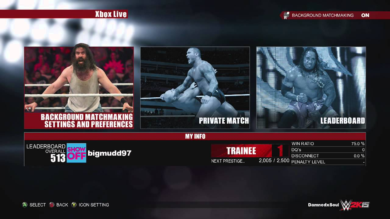 wwe 2k15 background matchmaking People looking to play specific match types online will have to contend with wwe 2k15's baffling new interface and background matchmaking system the game forces you to set preferences for.