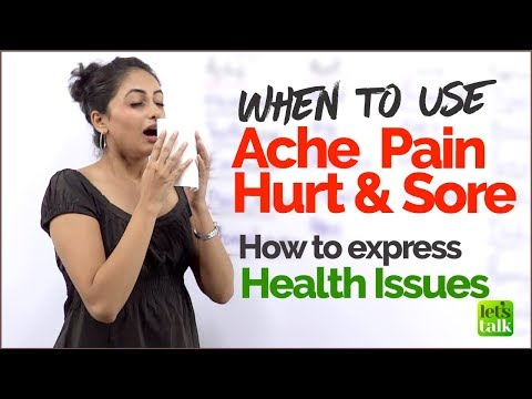 English Speaking Lesson for Beginners - English Mistakes using  Ache, Pain, Hurt  | ESL Vocabulary