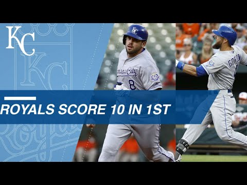 Royals score 10 runs in the 1st inning vs. the O's