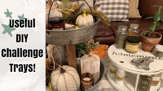 DIY Farmhouse Trays! | Thrift Store Makeover Trash to Treasure #9 | Useful DIY Challenge August 2019