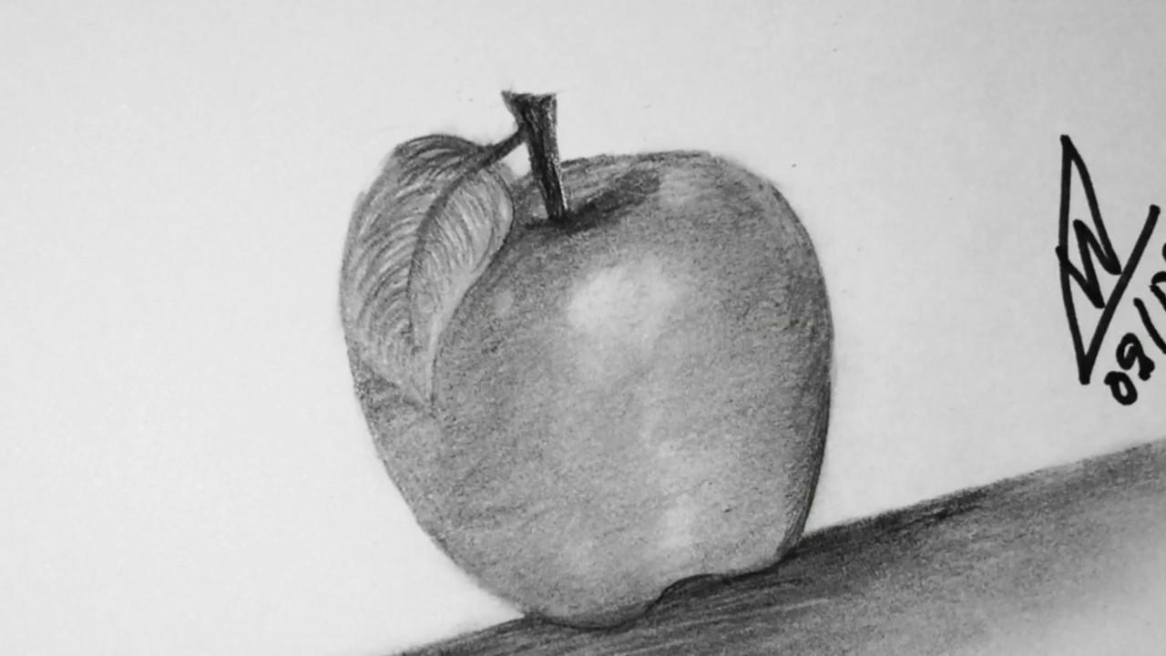 Aprende como dibujar una manzana con lapicesPaso a paso