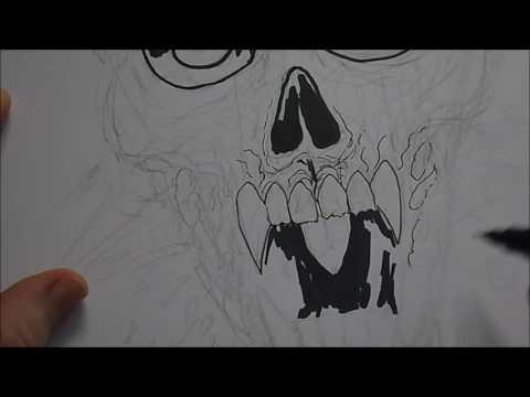 Drawing A Death Metal Skull T-shirt Design