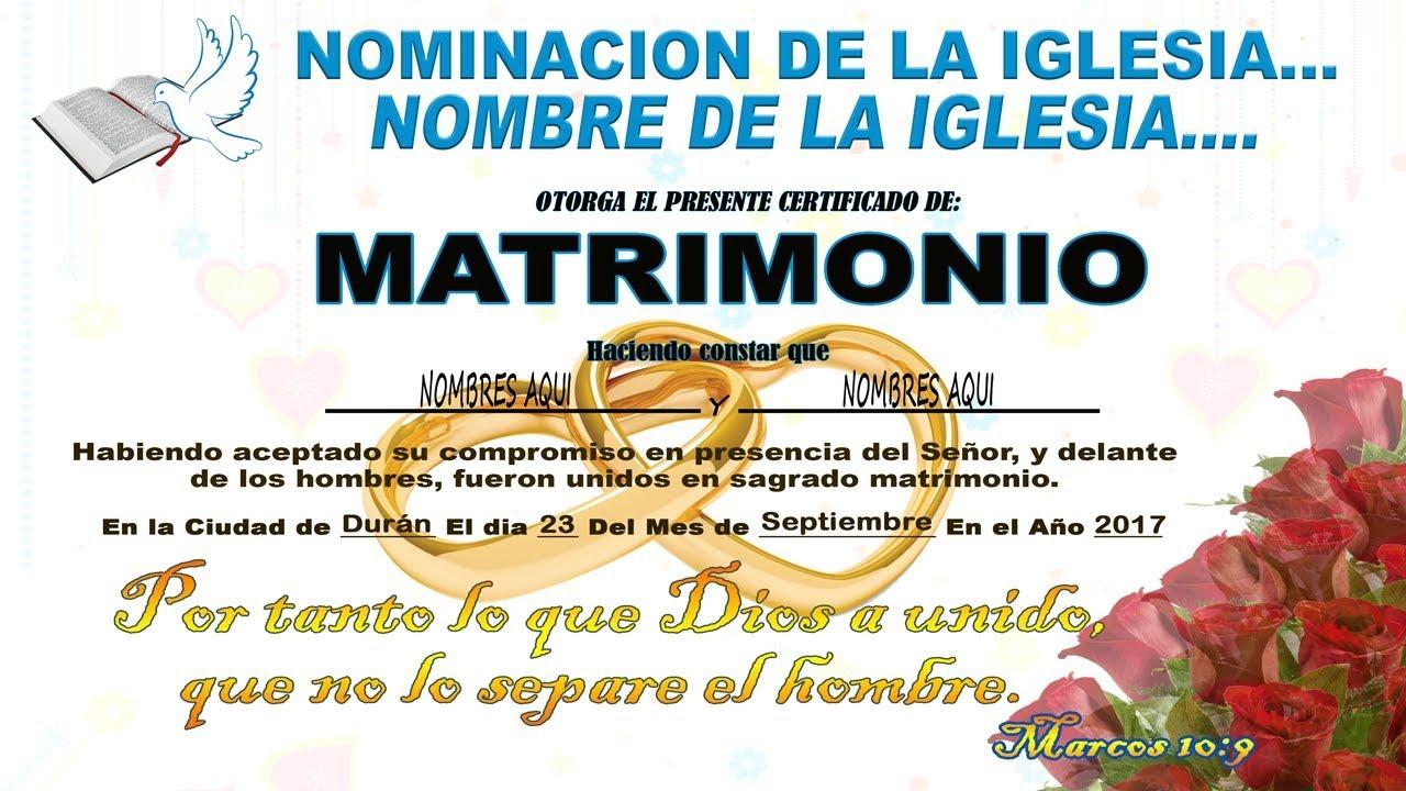 Acta De Matrimonio Catolico : Dos certificados de matrimonios iglesias cristianas