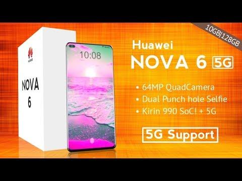 Huawei NOVA 6 5G, 64MP Quad Camera, Kirin 990 SoC!, Dual Punch Hole Selfie!
