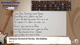 🎸 Sitting On The Dock Of The Bay - Otis Redding Guitar Backing Track with scale, chords and lyrics