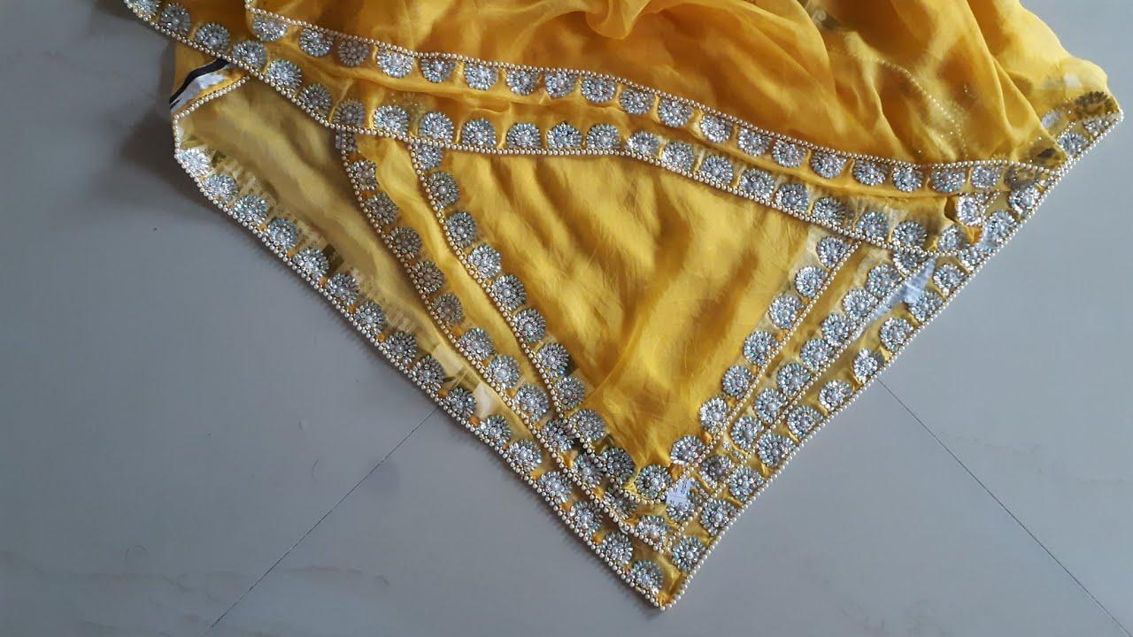 Beautiful Kundan work apply on odni!! Very easy apply  stone work on saree!! Dey Kundan work odni